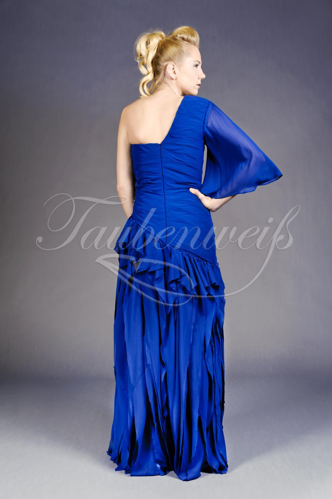 Abendkleid TW10A - Abendkleid lang royalblau ein Ärmel Strass