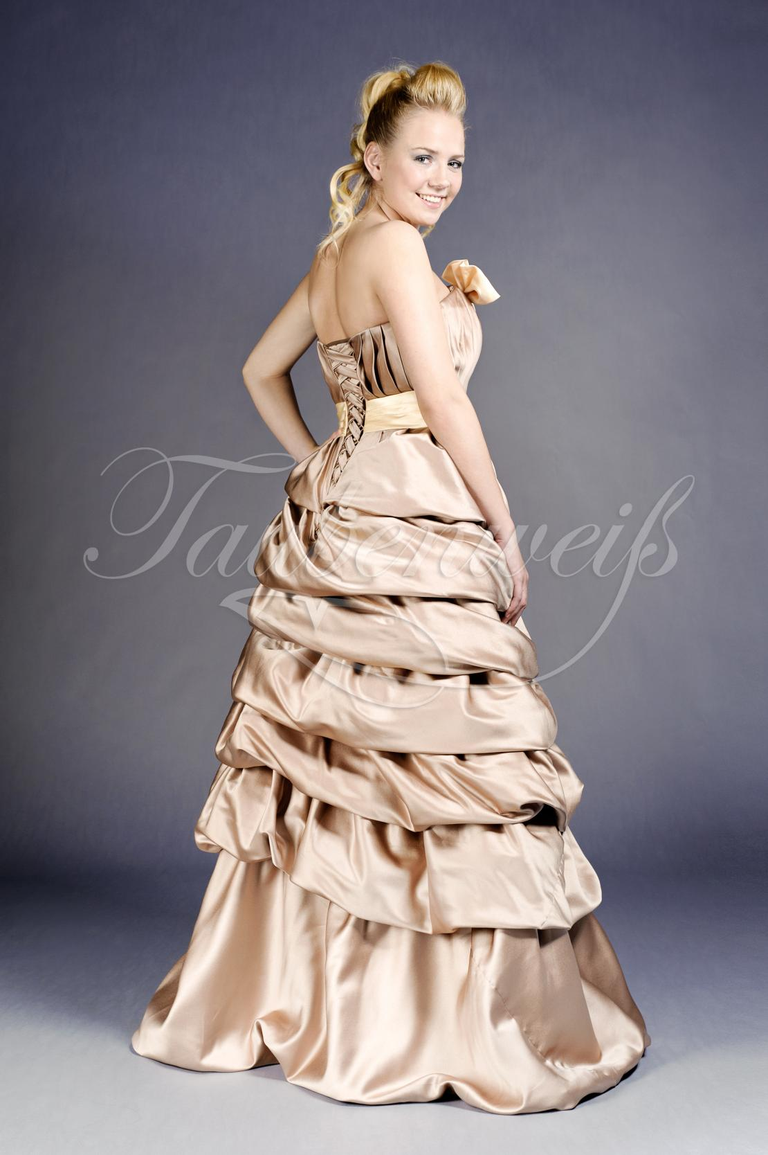 Abendkleid TW12A - Abendkleid Satin braun chocolat gerafft lang trägerlos