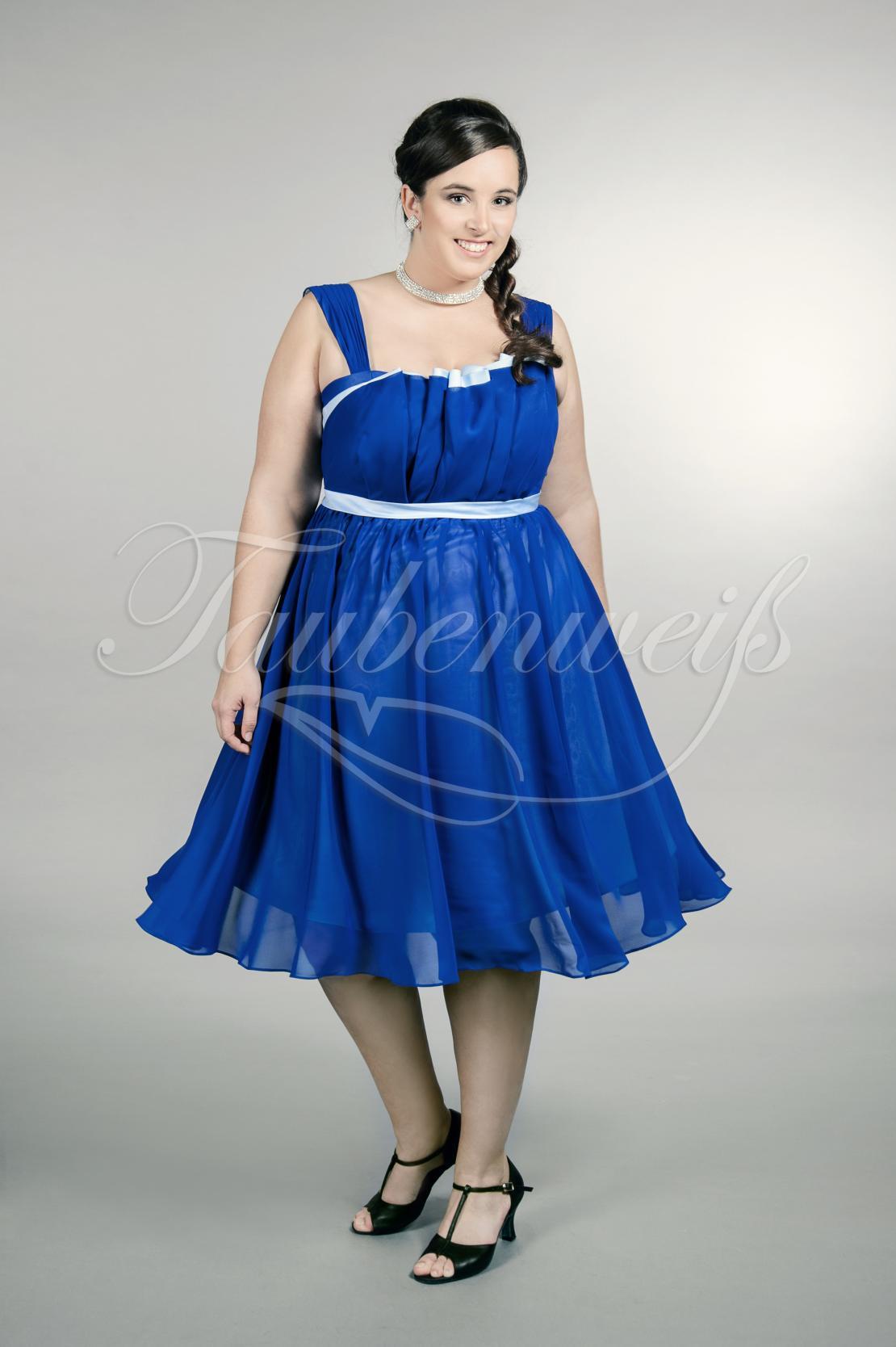 Abendkleid TW17A - Abendkleid Übergröße Plus XXL Große Größe Chiffon kurz  dunkelblau Träger