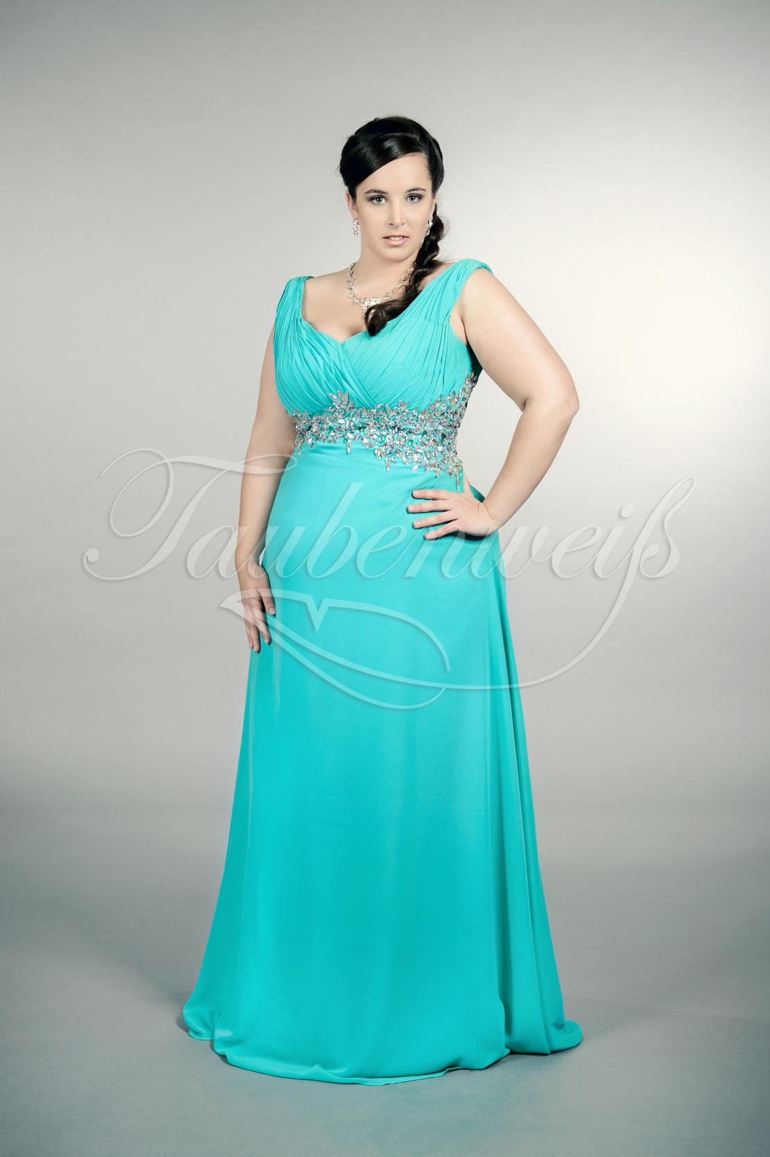 Abendkleid TW11A - Abendkleid Übergröße Plus XXL Große Größe Chiffon lang  aquamarin Strass
