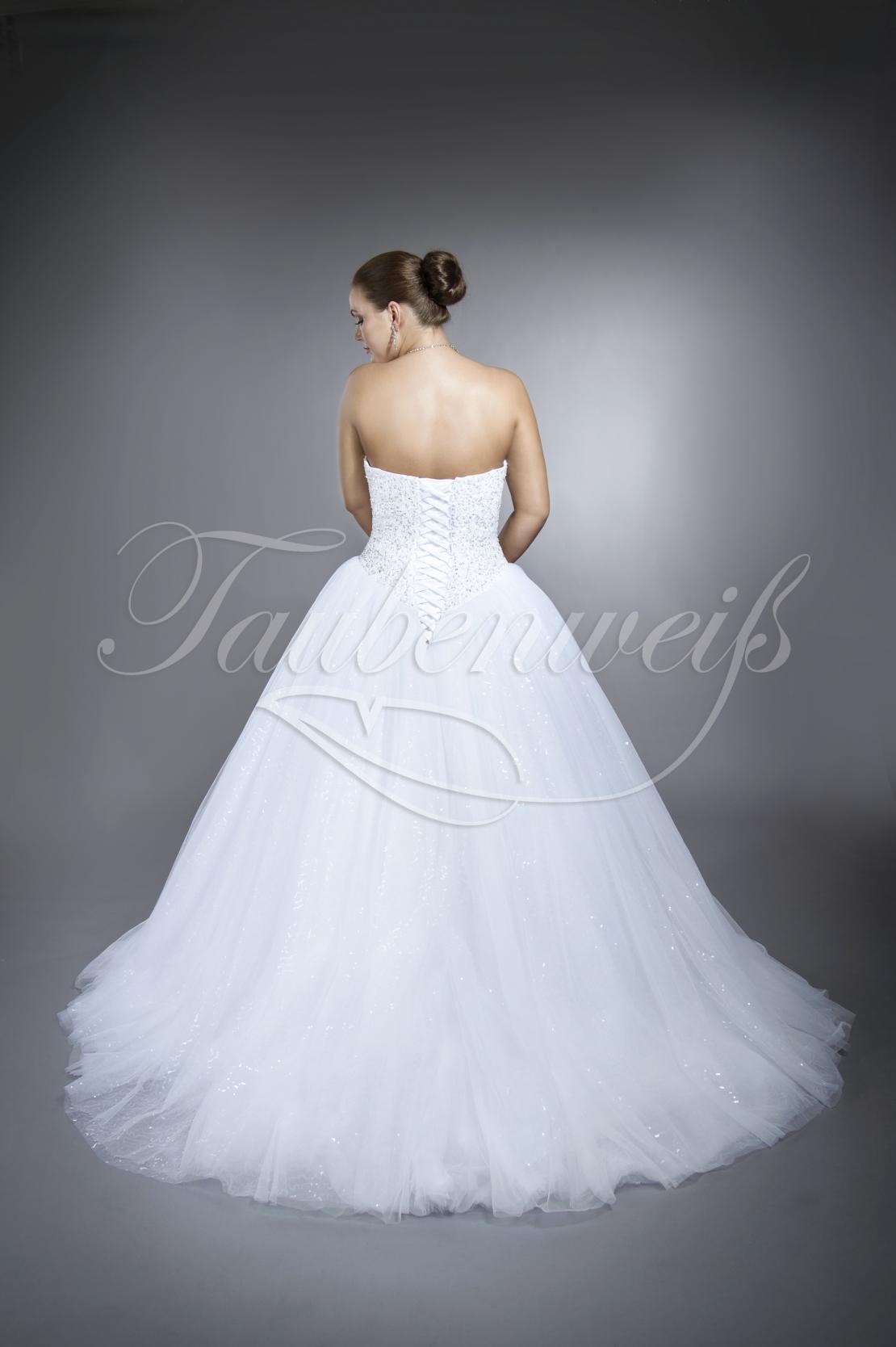 Brautkleid TW18B - Prinzessinnen Tüll Glitzertüll Pailletten Glitzer voll  bestickt Schnürung