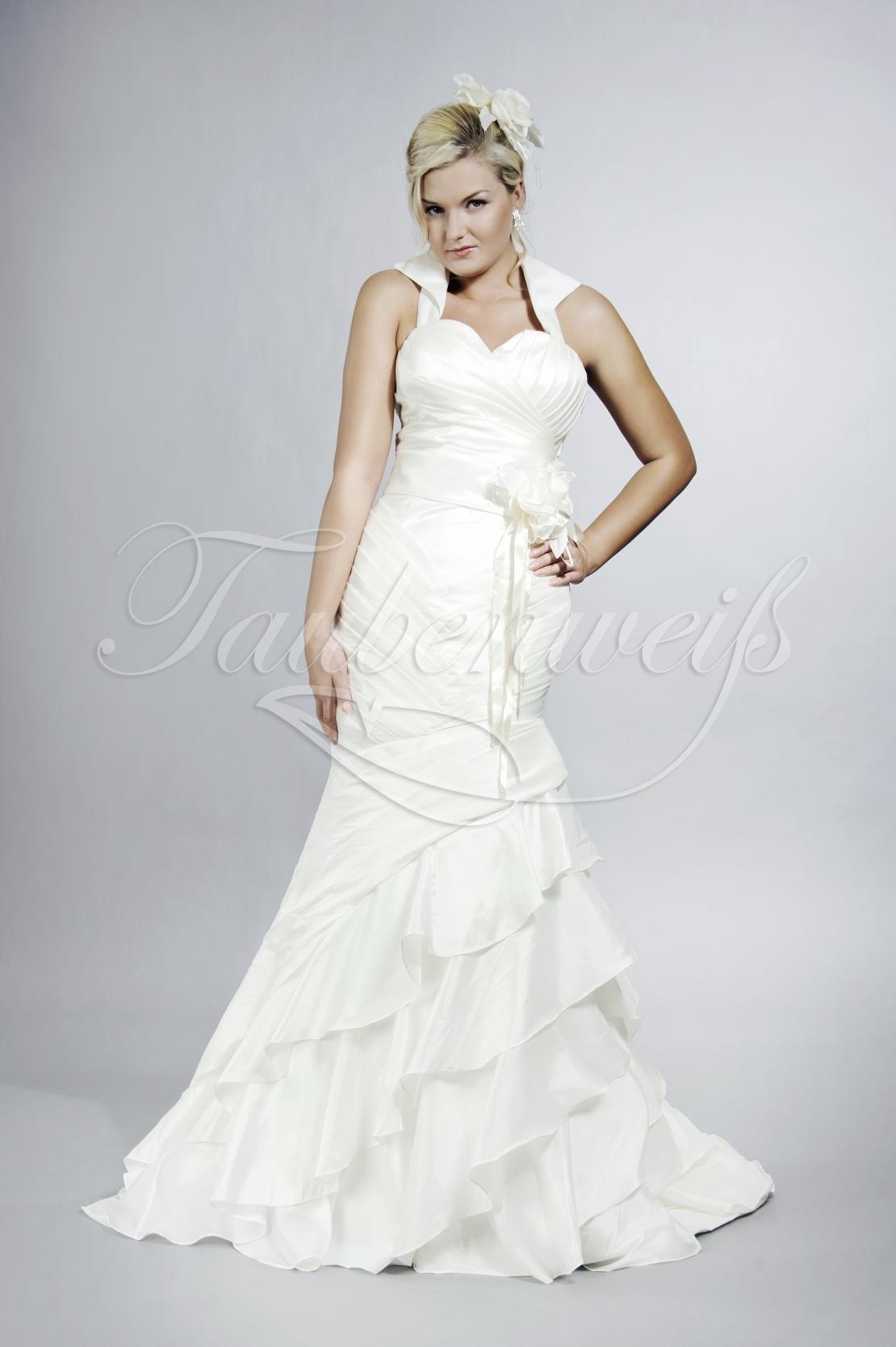 Brautkleid TW18B - Meerjungfrau Taft Drapierung Stehkragen Volants Blumen