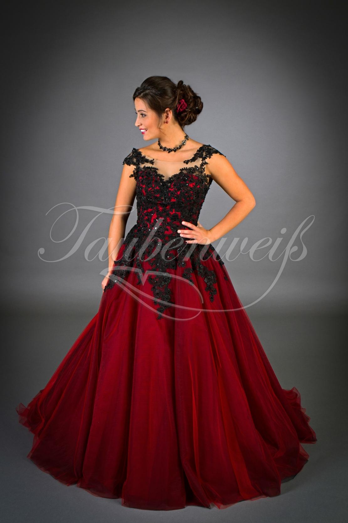 Brautkleid TW12B - A-Linie rot schwarz Tüll Spitze Perlen Schleppe  temperamentvoll