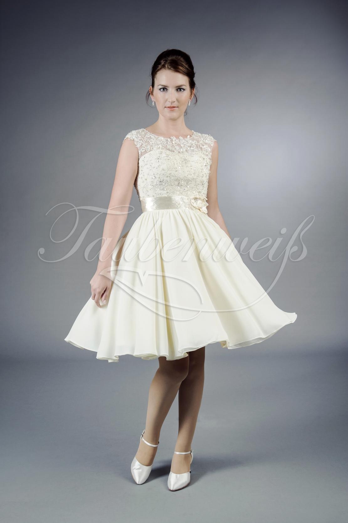 Brautkleid TW20B - kurz Chiffon Spitze Perlen 20er Jahre Standesamt