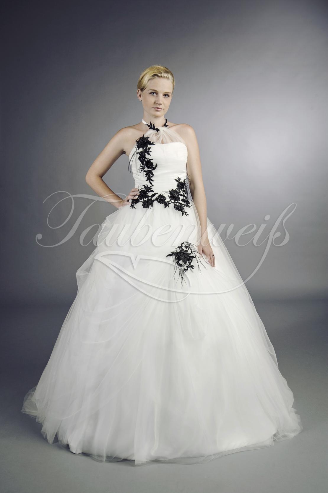 Brautkleid TW12B - schwarz weiß A-Linie extravagant Federn Neckholder  Gothic