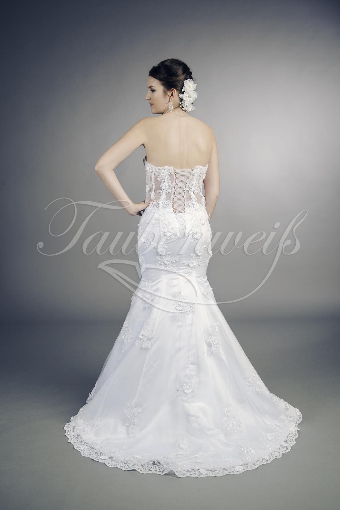 Brautkleid TW18B - durchsichtig transparent Spitze Blumen Perlen sexy