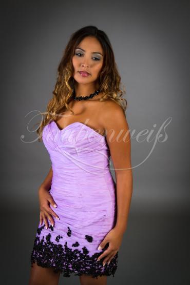 Black Purple TWBP02 - Brautjungfernkleid Mini Organza Spitze Herzausschnitt schwarz lila 1