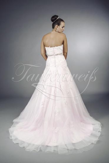 TW Clémence - Brautkleid A-Linie rosa Tüll Organza Spitze Perlen Strassband 1